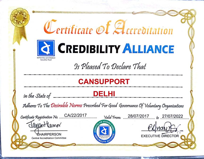 Certificate from Credibility Alliance - CanSupport